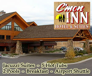 "C'Mon Inn - a spectacular log lodge hotel : Family-friendly log lodge hotel with 5 hot tubs, 2 pools, jacuzzi suites, Wi-FI, 42"" LCDs, airport shuttle (7 mins away) & breakfast buffet. Next to Outback Steakhouse, Johnny Carinos Italian, Costco, Target and local sporting goods store. Just 10 mins to Montana State University."